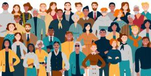 Grafik vieler Menschen verschiedenen Alters und Hauptfarbe_AWO Forchheim